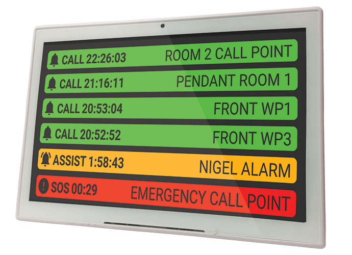 Flora is a desktop console nurse call systems designed for small facilities covering around 200 square meters