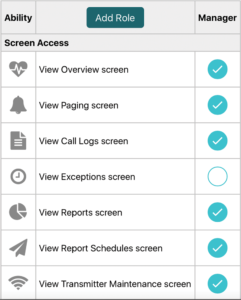 Vitalcloud assign User Role screen